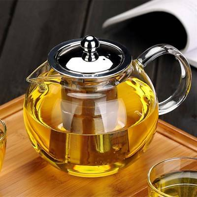650/960/1300ml Heat Resistant Glass Teapot Leaf Strainer Filter Infuser Tea Pot