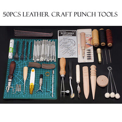 50pcs Leather Craft Punch DIY Kits Stitching Carving Working Saddle Sewing Tools