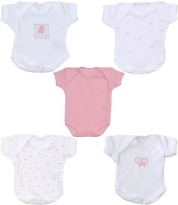Premature Baby Clothes 2 x Tiny Bodysuits Vests for Girls 5.5 - 7.5lb (Seconds)