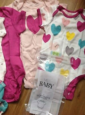 Marks & Spencer Age 12-18 Months 5 Baby Girls Short Sleeve Bodysuits Multi Colou