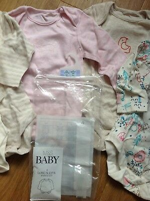 Marks & Spencer Age 6-9 Months 5 Baby Girls Long Sleeve Bodysuits Ivory Colours
