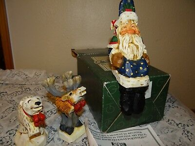 Vintage David Frykman lot Christmas 1995 Polar Bear Reindeer & Shelf sit Santa
