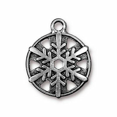 TierraCast Lotus Charm T101 Antiqued Silver Plated Pewter