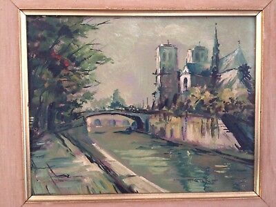 MID CENTURY ABSTRACT PAINTINGS OIL on board of Paris