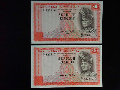 Malaysia Two Consecutive 10 Ringgit Notes undated  (1976-81)