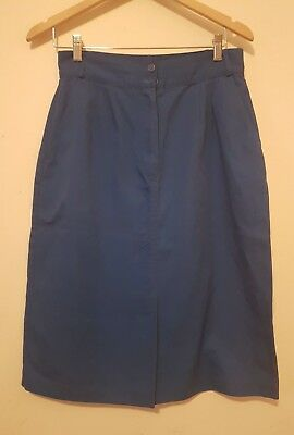 Blue Vintage Skirt - 14 ( L ) - Cotton Blend - 1980s 80s Pencil Fitted Style