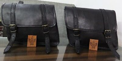 Motorcycle Saddlebags Pouch Black Leather 1Pair Bags  Panniers Design By Jasol