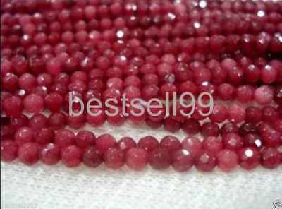 4MM 15 inches Natural Brazilian Ruby Faceted Round Loose Beads Gemstone