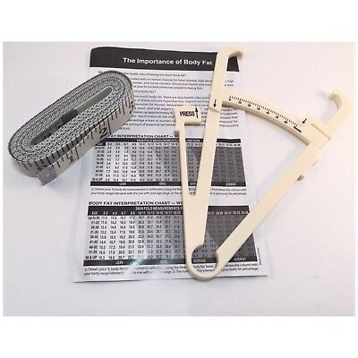 Body Measure Fat Calipers & Tape Measure Tester Health Charts Weight Loss