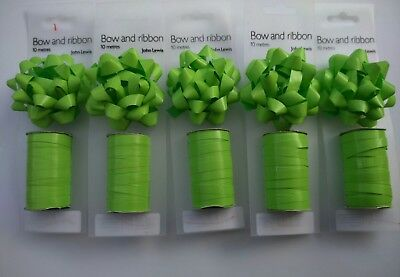 Job Lot of 5 John Lewis Matching Ribbon and Bow Set 10m in Lime Green
