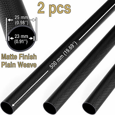 2 pcs x Matte 25mm OD * 23mm ID * 500mm 3K Roll Carbon Fiber Tube 25 23 500