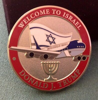 challenge coin    DONALD TRUMP AIR FORCE ONE 1 welcome to ISRAEL Jerusalem Red