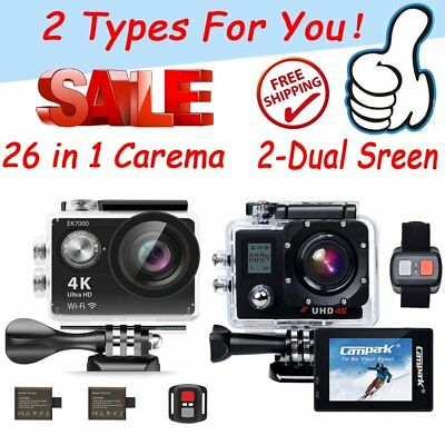 Ultra 4K1080P Waterproof Sport DV WiFi Action Camera +Accessories + Go pro bag W