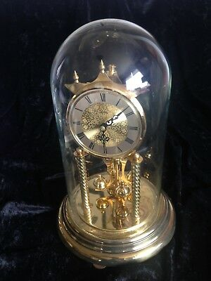 Large Vintage glass domed 400 day anniversary clock by Koma of Germany