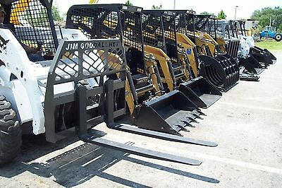 Skid Steer Pallet Forks by Bradco,High Back,4000 Lb Rated,2 Steps,Chain Hook,New