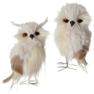 RAZ Imports 4.5 inch Cream Tan Owls Feathers Set/2 Christmas NEW!