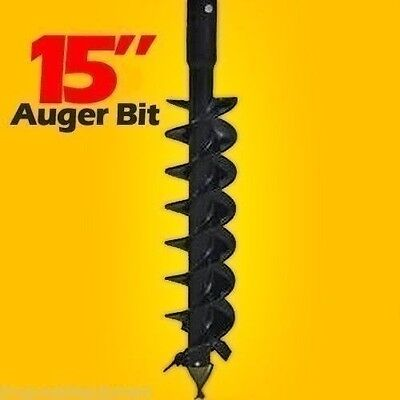 """15"""" Auger Bit for Skid Steers 48"""" Long,2"""" Hex Drive,Made In USA,Ship Same Day"""