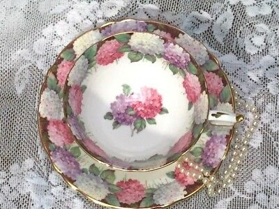 """Paragon HYDRANGEA GILT Teacup and Saucer Set """"By Appointment"""" *RARE TO FIND*"""