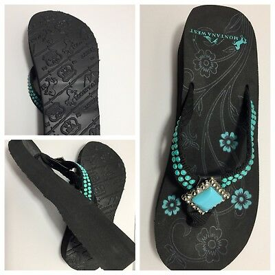 67f012a3f0b447 MIXIT (JCPENNEY) WOMEN S Size 10 Blue Sparkle Wedge Thong Sandals ...