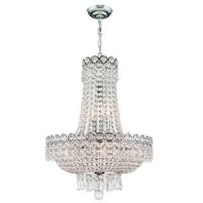 French Empire Century 8 Light 16 inch Chrome Royal Cut Crystal Chandelier Small