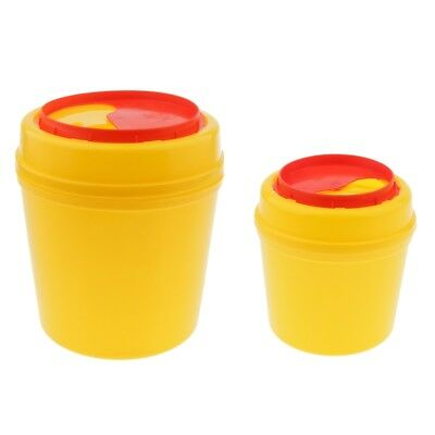 2PCS Sharps Disposable Biohazard Needle Container Waste Bin- Yellow- 1L/4L