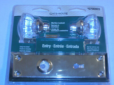 GATEHOUSE Interior Mortise Lockset Entry BRASS with GLASS KNOBS Free Shipping