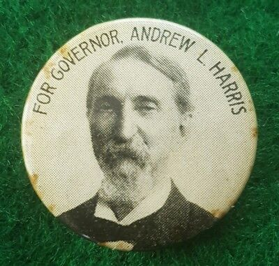 1909 Andrew L Harris Hero of Gettysburg for Governor of Ohio Political Pinback