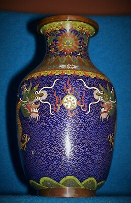 Antique Chinese Cloisonne Vase Marked Lao Tian Li Pair Dragons Flaming Pearl