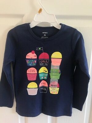NWT Carters Cupcakes Ling Sleeve Top 4T