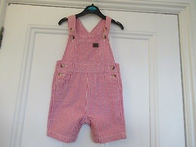 18-24m: Red/white striped cotton dungarees 4 summer: Monsoon: Good condition