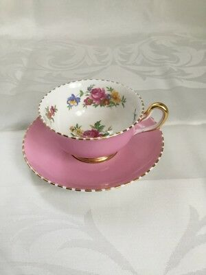 royal chelsea cup saucer England floral pink roses