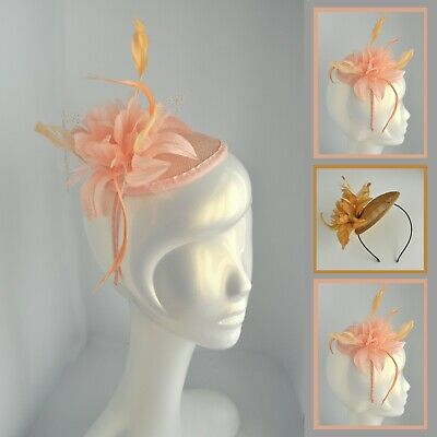 Salmon pink/bronze round sinamay feather flower wedding fascinator/hatinator