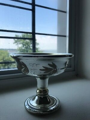Antique Mercury chic Glass Compote Etched Flowers shabby Bowl pedestal