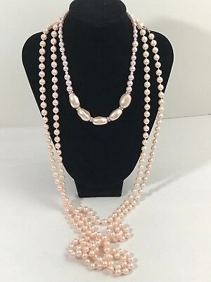 Vintage To Now Estate Jewelry Lot 2 Necklaces Pink Pearl