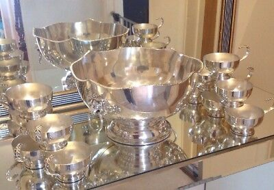 Vintage Silver Plate On Copper Large Punch Bowl & 12 Punch Cups
