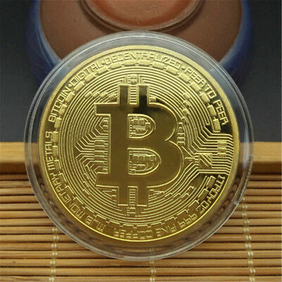 Gold Bitcoin Commemorative Round Collectors Coin Bit Coin Silver Plated Coin JB