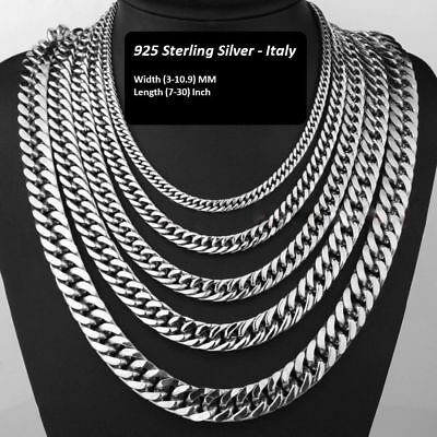 Men Women Solid 925Sterling Silver Curb Link Bracelet Chain Necklace Italy 16-30