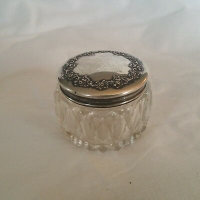 Chicago 1890 WENDELL Sterling Silver Repousse Floral Lid & Cut Glass Vanity Jar