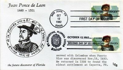 Dr Jim Stamps Us Juan Ponce De Leon Combination First Day Cover 1982