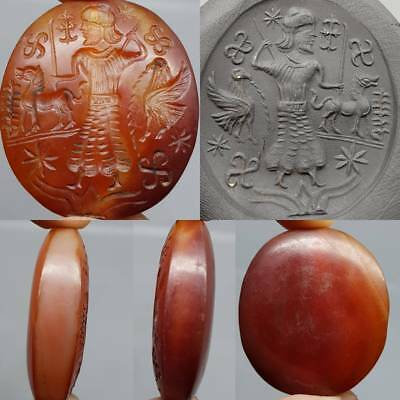 Antique Wonderful Agate Hunter Bird & Animal Old Seal Stone bead    # 2z