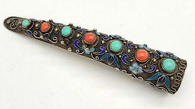 Antique Chinese enamel silver Coral Turquoise Finger Nail Guard Claw Ring! WOWZA