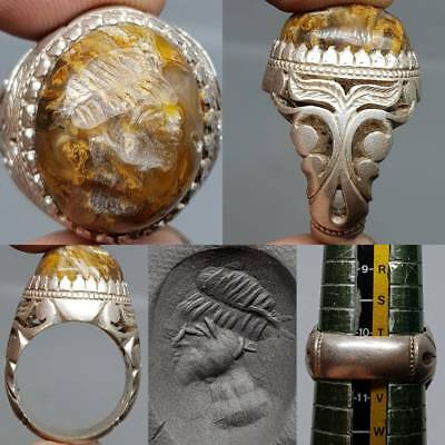 Silver Beautiful Unique Ring Ancient King Face seal intaglio Stone    # 2z