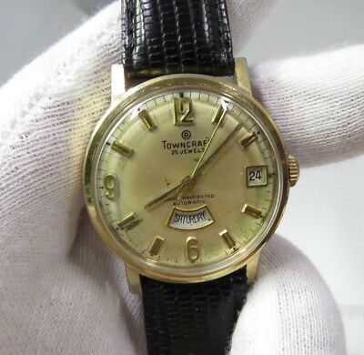 """TOWNCRAFT 60's 25j Automatic,""""Bottom Day"""",Side Date, RARE MEN'S WATCH,117,L@@K"""