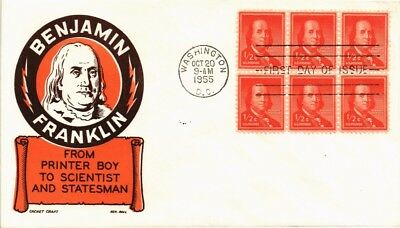 Dr Jim Stamps Us Benjamin Franklin First Day Cover Ken Boll Block 1955