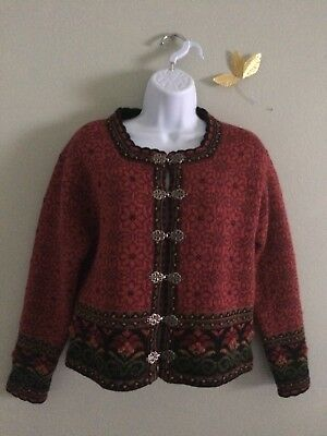 Women's Small Red Pattern Icelandic Design Long Sleeve Sweater. Great condition