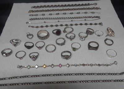 VINTAGE Lot OF STERLING SILVER Jewelry 20 RINGS 7 BRACELETS & MORE 120 +/- GRAMS