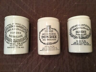 Antique JAMES KEILLER & SONS DUNDEE  MARMALADE 1LB. Crock/jars - All 3