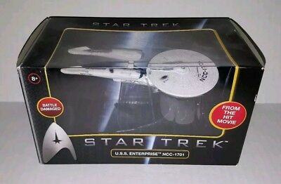 NIB 2009 Hot Wheels Star Trek Movie USS Enterprise Damaged NCC-1701 with Stand