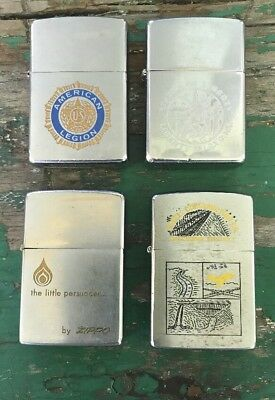 Nice Vintage Lot of 4 Vintage Zippo Lighters Salesmen Sample Stature Liberty