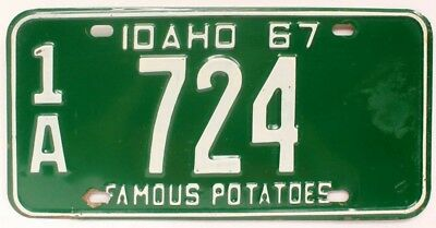 Vintage Idaho 1967 License Plate, 1A 724, Boise, Ada County, Low 3-Digit Number